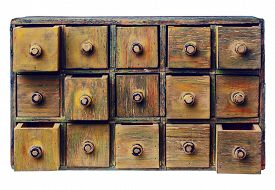 image of primite  - primitive wooden apothecary or catalog cabinet with partially open drawers  - JPG