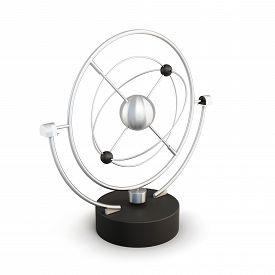 foto of pendulum  - Pendulum Earth isolated on white background - JPG