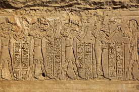 pic of hieroglyphic  - Hieroglyphic carvings on the exterior walls of an ancient egyptian temple  - JPG