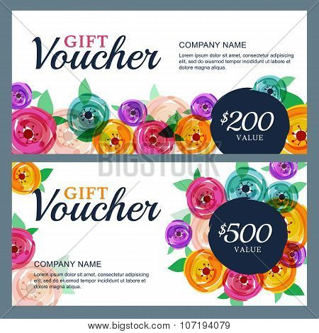 Vector Gift Voucher Template With Decorative Rose Flowers  poster