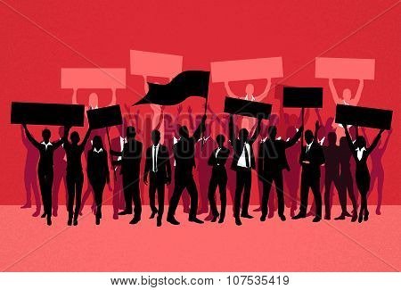 Protest People Crowd Silhouette Over Red Background