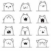 Set of 12 different emotions cat. Anime doodle design poster
