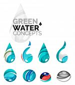 Set of abstract eco water icons, business logotype nature green concepts, clean modern geometric des poster