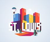 St. Louis city travel destination in USA. vector cartoon, poster
