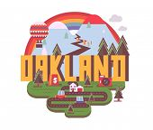 Oakland destination brand logo. vector cartoon poster