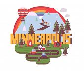 Minneapolis destination brand logo. vector cartoon poster