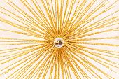 picture of gold glitter  - Abstract art decoration in shape of sun rays - JPG
