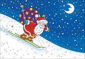 Постер, плакат: Santa Claus skier