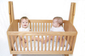 picture of twin baby  - little baby set of twins in crib  - JPG