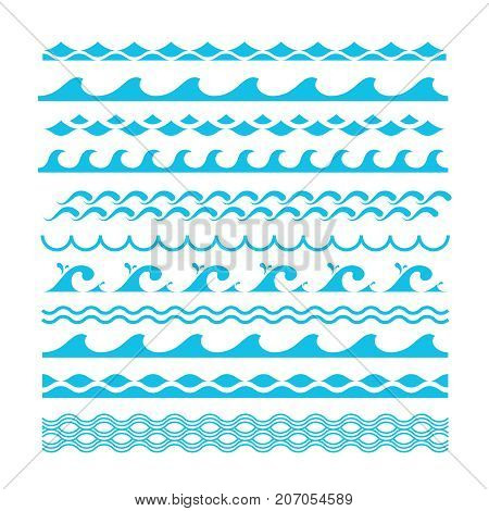 poster of Vector decorative blue sea waves. Water marine symbols set. Wave marine and ocean wave line illustration
