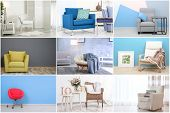 Collage with different armchairs in modern interior design poster
