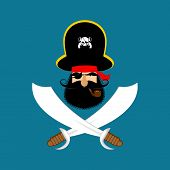 Pirate Logo. Head Of Buccaneer And Sabers. Pirate Symbol. Vector Illustration poster
