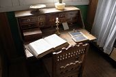 Very Old Desk With Vintage Open Bible