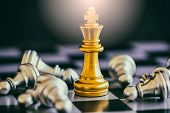 Постер, плакат: Strategy Chess Battle Intelligence Challenge Game On Chessboard Success The Strategy Concept Chess