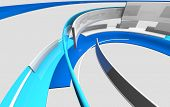 3D glossy reflective white and blue curved shapes. Ambient architecture, technology, science and eng poster