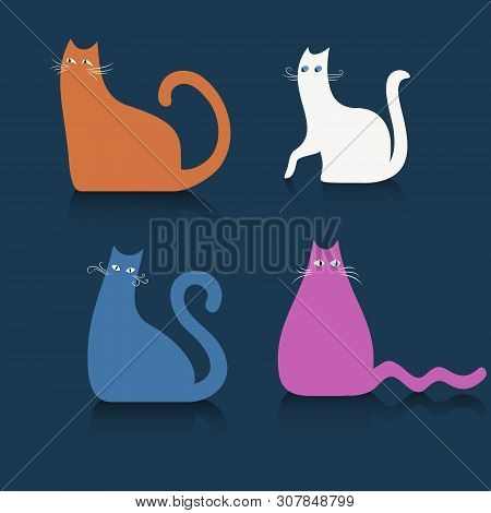 poster of Colored Cats On A Blue Background. Vector Illustration Of Funny Cats. Cats Symbol, Colored Cats Icon