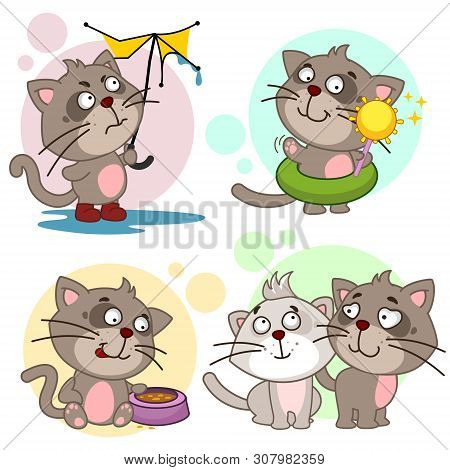 poster of A Set Of Cartoon Illustration Icons For Design And Children With Cats, A Cat With A Broken Umbrella