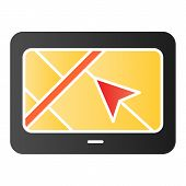 Tablet With Navigator Flat Icon. Gps App Color Icons In Trendy Flat Style. Tablet Navigation Gradien poster