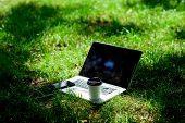 Coffee Break Outdoors. Summer Park. Work And Relax In Natural Environment. Its Coffee Time. Coffee T poster