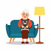 Grandmother Cat. Elderly Woman Sits On Sofa And Holds Cute Kitty In Her Arms. Happy Grandmother With poster