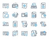 Technical Document Line Icons. Set Of Instruction, Plan And Manual Icons. Help Document, Building Pl poster