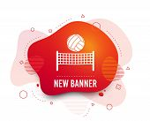 Fluid Badge. Volleyball Net With Ball Sign Icon. Beach Sport Symbol. Abstract Shape. Gradient Volley poster