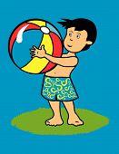 foto of beach-ball  - Kid with beach ball on short playing - JPG