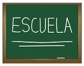 picture of escuela  - Illustration depicting a green chalkboard with ESCUELA written on it in white - JPG