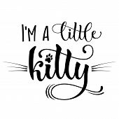 Im A Little Kitty Quote. Baby Shower Hand Drawn Calligraphy Style Lettering Phrase. poster