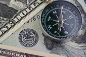 Fed, Federal Reserve Of Us Government Direction On Interest Rate Concept, Compass On Us Dollar Bankn poster