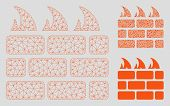 Mesh Firewall Model With Triangle Mosaic Icon. Wire Carcass Polygonal Mesh Of Firewall. Vector Compo poster