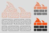 Mesh Firewall Model With Triangle Mosaic Icon. Wire Frame Polygonal Mesh Of Firewall. Vector Mosaic  poster