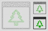 Mesh Fir Tree Calendar Page Model With Triangle Mosaic Icon. Wire Frame Triangular Mesh Of Fir Tree  poster