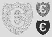Mesh Euro Shield Model With Triangle Mosaic Icon. Wire Frame Triangular Mesh Of Euro Shield. Vector  poster