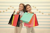 Kids Happy Carry Bunch Packages. Shopping With Best Friend Concept. Girls Like Shopping. Kids Happy  poster