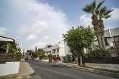 Clean Tidy City Street Of The European City. Beautiful City Streets Of Ayia Napa, Cyprus. Mediterran poster