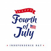 Fourth Of July, United States Of America Independence Day Vintage Card. Calligraphic 4th Of July Typ poster
