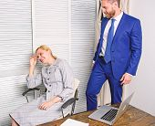 Sexual Harassment Between Colleagues And Flirting In Office. Workplace Bullying Concept. Bullying At poster