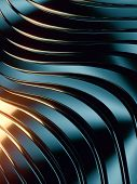 Wave Band Surface. Bright Colored Reflections On Dark Metallic Surface. Abstract Reflective Luxury G poster