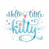 Hello Little Kitty Quote. Baby Shower Hand Drawn Calligraphy Style Lettering Phrase. poster