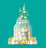 Glass Money Jar Full Of Gold Coins And Banknotes. Saving Dollar Coin In Moneybox. Growth, Income, Sa poster