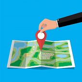 Location Pin In Hand And Paper Map. City Map With Houses, Parks, Streets And Roads. City Aerial View poster