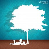 image of reading book  - Seamless retro pattern background with children read a book under tree - JPG