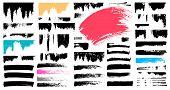 Set Stroke Spot Blod. Brush, Pen, Marker, Chalk. Blck White. Vector Distressed Grunge Modern Texture poster