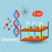 Chemistry Science Vector Illustration. Design Elements Of Chemical Flask Beakers, Dna Molecules, Ato poster
