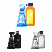 Vector Illustration Of Chemical And Product Symbol. Collection Of Chemical And Bottle Stock Vector I poster