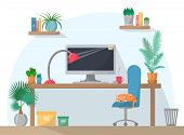 Working Place Illustration In Flat Style, Computer On Work Table With Chair, Lamp, Mug, Shelves With poster