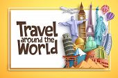 Travel And Tourism Vector Background Banner Design With Travel Around The World Text In An Empty Whi poster