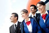 image of cabin crew  - Portrait of an airplane cabin crew smiling - JPG