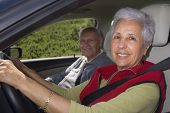 image of senior-citizen  - Happy senior couple out for a drive - JPG